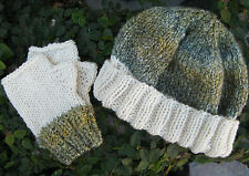 Gift Set 3 - Handmade Knit Hat and Fingerless Gloves Set cream white blue green
