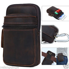 "Mens Genuine Leather Cowhide 6"" Phone Holder Fanny Bum Hip Waist Belt Pack Bags"