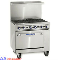 "NEW IMPERIAL 36"" COMMERCIAL 6 OPEN BURNER / 1 OVEN GAS RANGE STOVE IR-6"