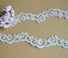 Embroidered Corded Bridal Lace Edging Ribbon Ivory Floral Wedding Trimming 1.5""