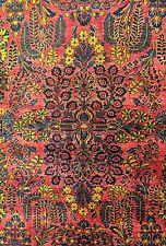 Saffron Sarouk - 1920s Antique Persian Rug - Oriental Floral Carpet 6.5 x 8.6 ft