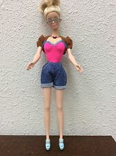 Barbie Doll Outfit Top & Shorts Jacket Pink Brown Glasses Necklace Wedges #1
