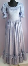VTG Ladies LAURA ASHLEY Pale Blue Floral Prairie Style Long Dress Size 10