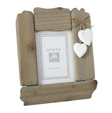 Shabby Wooden Chic Driftwood Photo Frame Hearts Freestanding Nautical Seaside