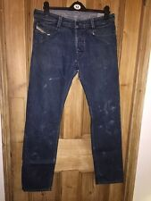 "Diesel Slammer Dark Blue Wash Rip Paint Design Straight Jeans Size W32"" L32"" *C1"