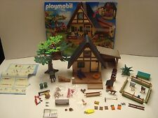 Playmobil RETIRED #4207 FOREST LODGE 80% Complete Set w/Instructions & Box Top