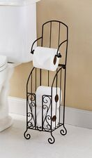 """NEW Metal Toilet Paper Stand With Storage Deluxe 24"""" High"""