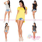 Casual Asymmetric Top Short Sleeve Boat Neck T-Shirt Party Tunic Size 8-12 FA386
