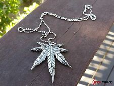 Pot Leaf Shaped 420 Pendant Tactical Necklace Neck Knife with Hidden Sword New