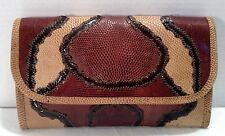 Vintage Carlos Falchi Reptile Snakeskin Leather Patchwork Brown Tan Beige Clutch