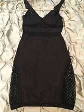 Bebe Addiction Black Copper/ Gold Metallic Mini Clubwear Slvless Dress Sz M