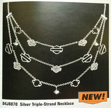 Harley-Davidson Ladies' Silver Triple-Strand Necklace from Franklin Mint D4J8870