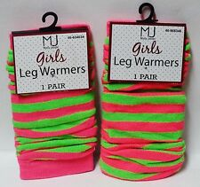 2 Pairs Of MJ Molly Jacob Girls LEG WARMERS One SZ Fits Most Pink & Lime