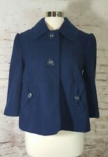Anthropologie Tulle Womens Sz XL Jacket Coat Wool Blend Cropped Blue Big Buttons