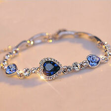 New Fashion Women Blue Rhinestone Bangle Bracelet Jewelry Valentines Day Gift