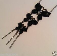 Huge Crystal black stones butterflies necklace pendant gray tone chain B135