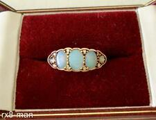 2003 9CT SOLID GOLD FIVE STONE OPAL & DIAMOND RING UK Q 1/2 US 8.5 - 3.4g