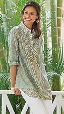 SOFT SURROUNDINGS L Tabitha tunic top Paisley Sky/ blue green pink floral NWOT