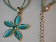 """Sky Blue Moonglow Glass Rhinestone Flower Silver pendant 16"""" Cord Necklace 8f 7"""