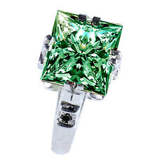 3.52 ct Si1/ GREEN PRINCESS MOISSANITE& NATURAL BLACK DIAMOND .925 SILVER RING