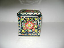 Daher Tin Canister Hinged LId Flower Design Pre-Owned