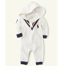 Baby Kids Polo Bodysuits Autumn Cotton Boys Rompers Outfits White/Blue 0-24M