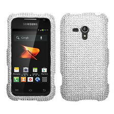 For Samsung Galaxy Rush M830 Crystal Diamond BLING Case Phone Cover Silver