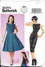 BUTTERICK SEWING PATTERN 6094 MISSES SZ 6-14 RETRO INSPIRED, FIT & FLARE DRESS