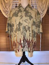 Mens BOX OFFICE ISLAND SKUlLL CAMP XL Extra Large Shirt 100% Poly Khaki Tan EUC