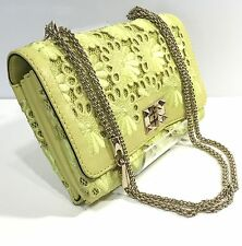 Valentino Lime Green Lace Gold Rockstud Crossbody flap bag with Chain Handbag