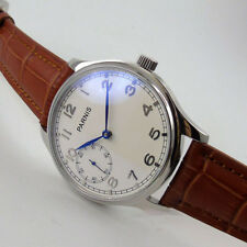 Parnis 44mm White Dial Brushed Case Blue hands hand winding 6497 movement Watch
