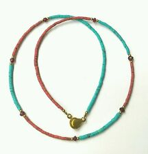 Afghan Natural Turquoise, Opal & Garnet Tiny Seed Beads Necklace Gemstone