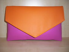 Oltre dimensionati Arancione & HOT PINK FAUX LEATHER pochette, completamente foderato BN LOVELY!