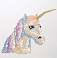 SEQUIN BEADED LARGE UNICORN  APPLIQUE 2830-L