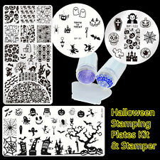 6pcs/set Halloween Spider Nail Art Stamping Plates & Stamper Scraper Kit DIY