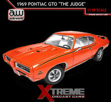 "AUTOWORLD AMM1058 1:18 1969 PONTIAC GTO ""THE JUDGE"" ORANGE LTD ED 1002"