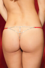 STRING ROUGE BIJOU 40 42 STRASS SEXY FEMME RED JEWEL THONG CORDA DONNA WOMAN
