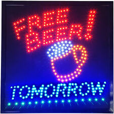 Free Beer Tomorrow LED Sign Man Cave Wine Bar Pub Drink keg Party Game Room neon