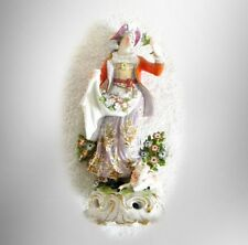 Vintage French woman figurine with flower heads -  FREE SHIPPING