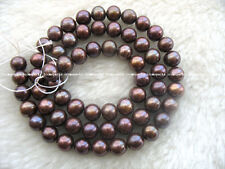 freshwater pearl coffee round beads  6mm 15""
