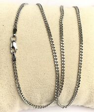 18k Solid White Gold Italian Flat Curb/Link Chain Necklace, 20 Inches, 4.03Grams