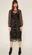 ZARA AW16 Embroidered Midi Dress Size M Uk 10 Genuine Zara