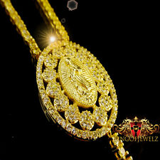 MEN WOMEN DESIGNER ROSARY NECKLACE 14K YELLOW GOLD FINISH CANARY LAB DIAMOND 32""