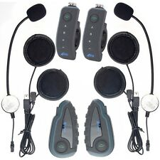 2pcs V8 Bluetooth Interphone Motorbike Riding Wireless Intercom for 5rider 1200m