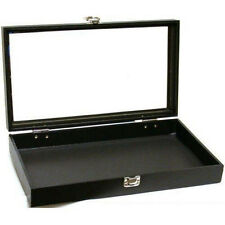 Black Display Clear Glass Top Case Watches Jewelry Accessories Latch Closure New