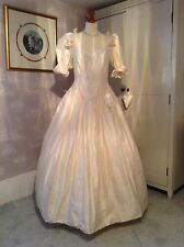 VINTAGE 1980s DARK IVORY SILK WEDDING DRESS BY CATHERINE ROBERTS, SIZE 14/16