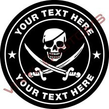 """5"""" Your Text Here Vinyl Decal Sticker Skull Crossbones"""