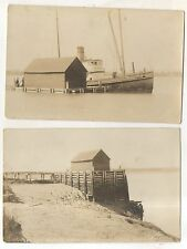 LOT OF 2! RPPC Extreme Tide, Docks WOLFVILLE NS Real Photo Nova Scotia Steamboat