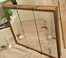 31 x 26 3 DOOR Vtg bathroom MEDICINE cabinet mirror metal BRASS gold shelf gold
