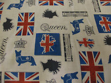 "White ""The Queen"" Queen Elizabeth, British Flag 100% Cotton Fabric."